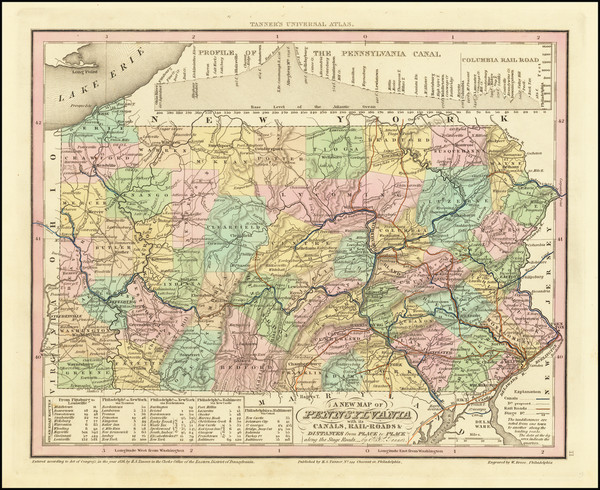 62-Pennsylvania Map By Henry Schenk Tanner
