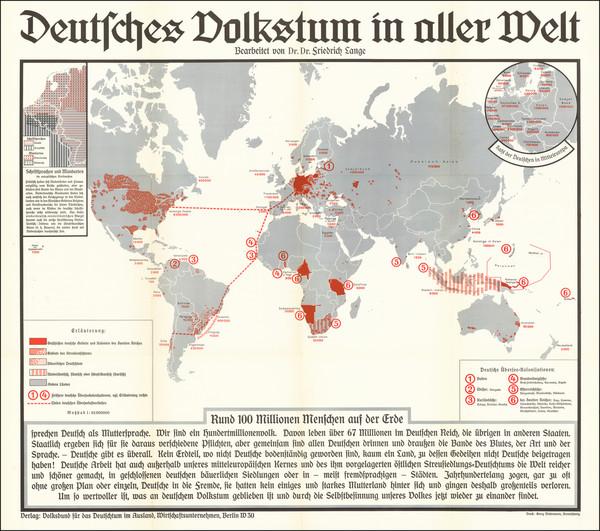 88-World and World War II Map By Volksbund für das Deutschtum im Ausland