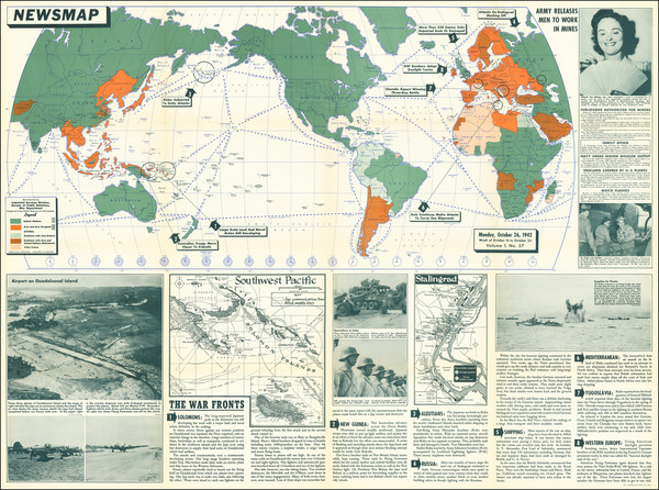 24-World and World War II Map By United States GPO