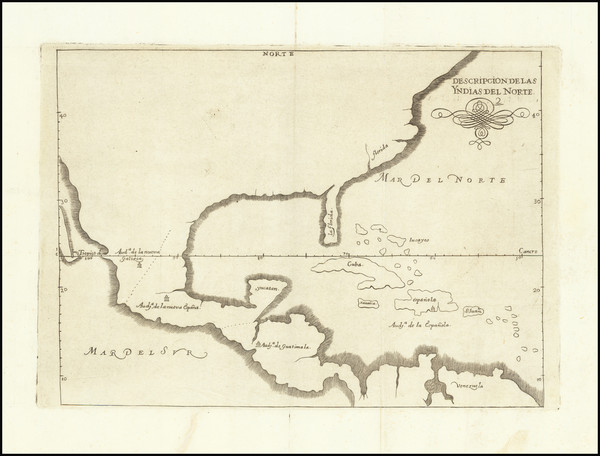 77-United States, Florida, South, Southeast and Mexico Map By Antonio de Herrera y Tordesillas