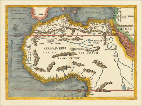 52-Africa, North Africa and West Africa Map By Martin Waldseemüller