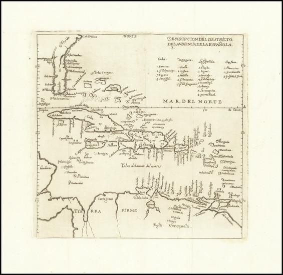 0-Florida, Caribbean and Colombia Map By Antonio de Herrera y Tordesillas