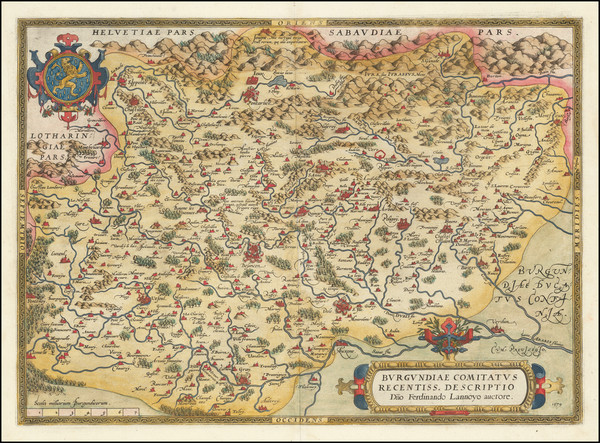 53-Switzerland and France Map By Abraham Ortelius