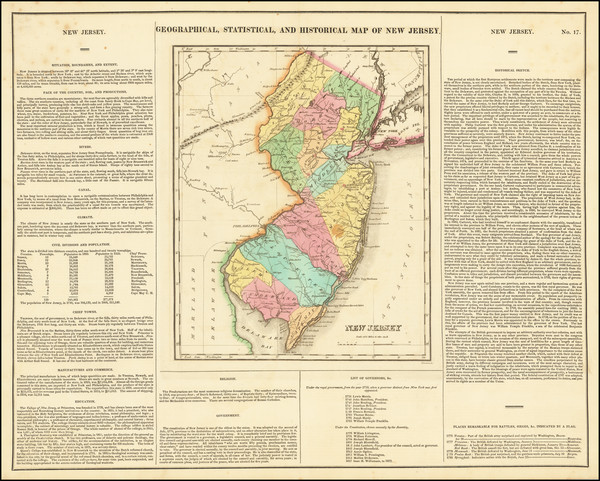 65-New Jersey Map By Henry Charles Carey  &  Isaac Lea