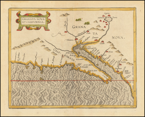 33-Southwest, Baja California and California Map By Cornelis van Wytfliet