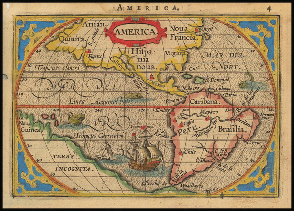 43-Western Hemisphere and America Map By Abraham Ortelius