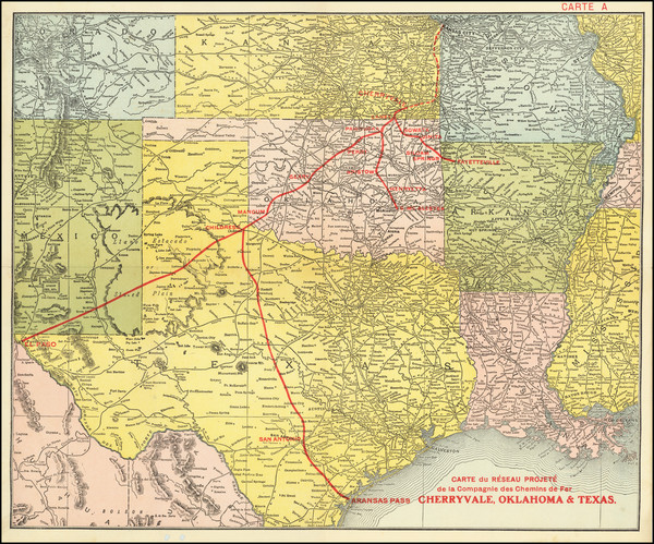 64-Texas and Oklahoma & Indian Territory Map By Anonymous