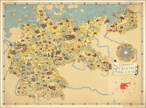 97-Germany, Pictorial Maps and World War II Map By Riemer