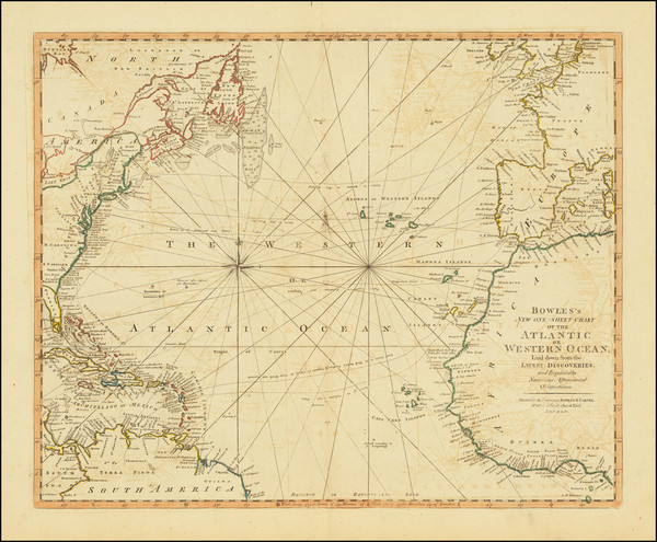 52-Atlantic Ocean and United States Map By Jonathan Carver  &  Carington Bowles II