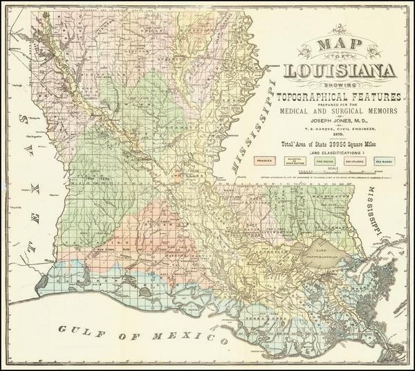 69-Louisiana Map By Thomas Sydenham Hardee