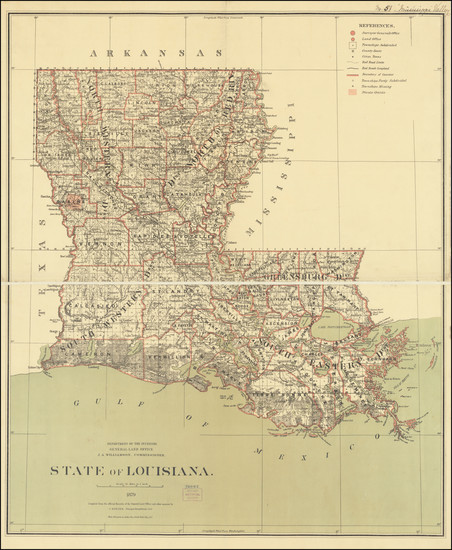 54-Louisiana Map By U.S. General Land Office