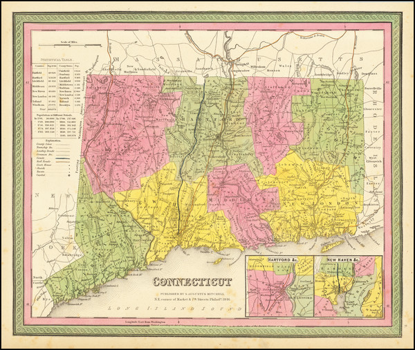 54-Connecticut Map By Samuel Augustus Mitchell