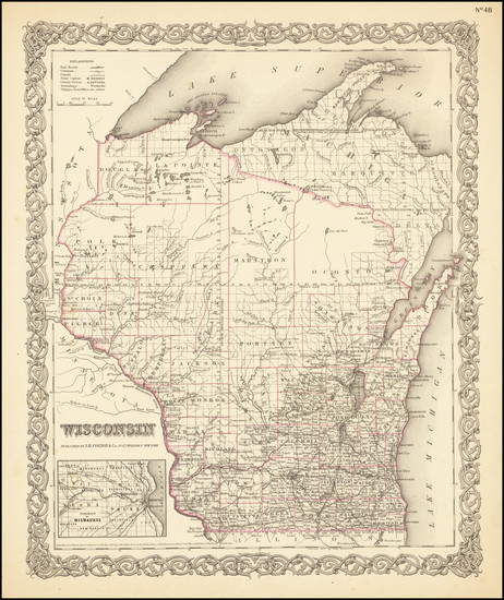 75-Midwest and Wisconsin Map By Joseph Hutchins Colton