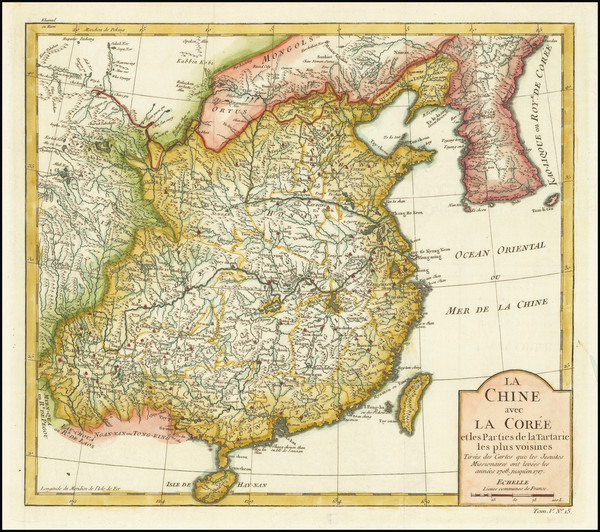 84-China and Korea Map By Jacques Nicolas Bellin