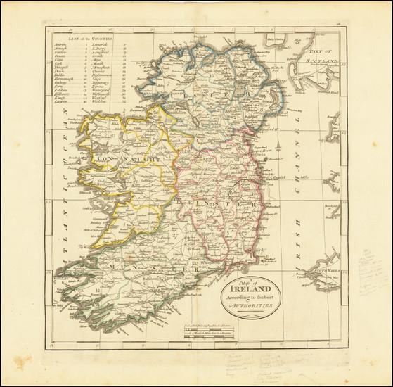 67-Ireland Map By Mathew Carey