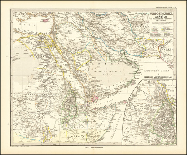 80-Middle East and Arabian Peninsula Map By Adolf Stieler