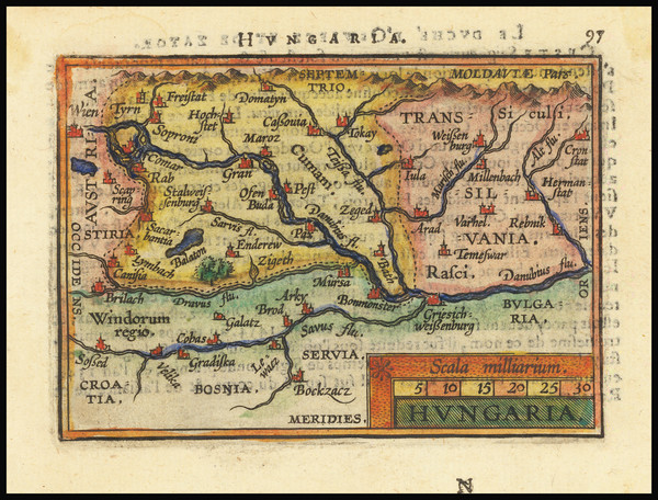 6-Hungary and Romania Map By Abraham Ortelius / Johannes Baptista Vrients