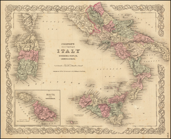 94-Southern Italy, Malta and Sardinia Map By G.W.  & C.B. Colton