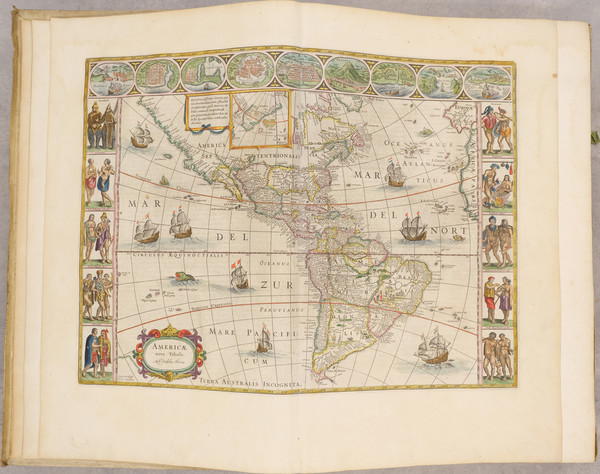 3-North America, Central America, South America, America and Atlases Map By Johannes Blaeu