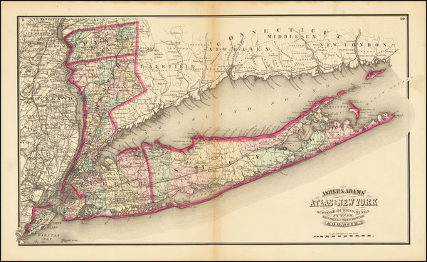55-New York City and New York State Map By Asher & Adams
