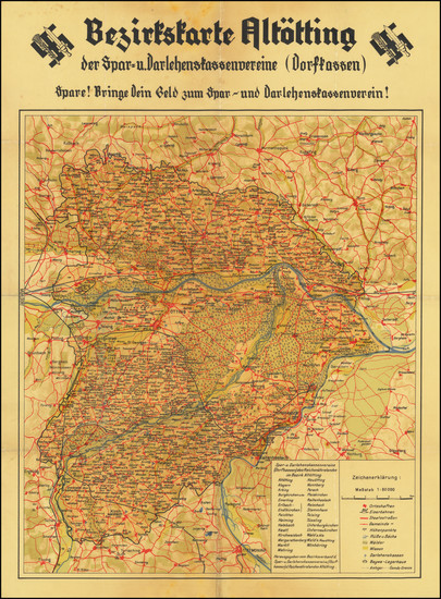 85-Germany and World War II Map By Reichsnährstandes Altötting
