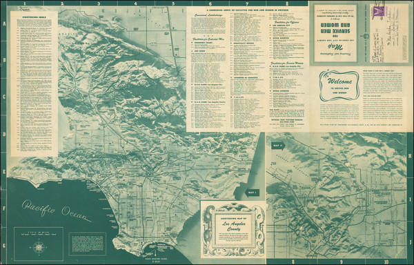 5-Pictorial Maps, Los Angeles and World War II Map By The All-Year Club of Southern California