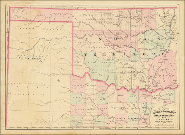 2-Texas and Oklahoma & Indian Territory Map By Asher  &  Adams