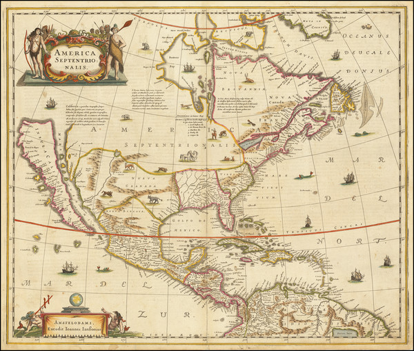1-North America and California as an Island Map By Henricus Hondius / Jan Jansson