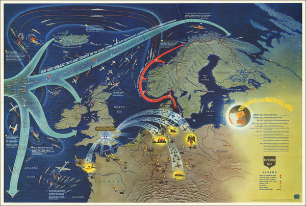 22-Atlantic Ocean, Europe, England, France, Scandinavia and Pictorial Maps Map By Educational Serv
