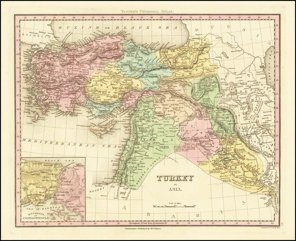 78-Turkey, Cyprus and Turkey & Asia Minor Map By Henry Schenk Tanner