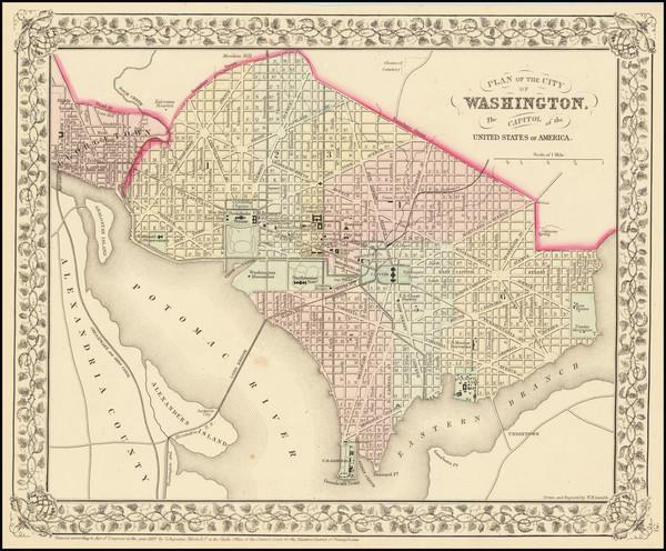 20-Washington, D.C. Map By Samuel Augustus Mitchell Jr.