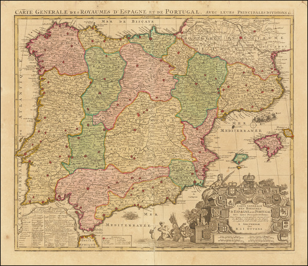 74-Spain and Portugal Map By Reiner & Joshua Ottens