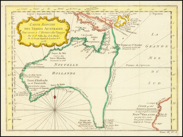 74-Australia Map By Jacques Nicolas Bellin