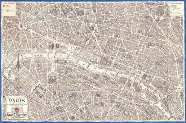 81-Paris and Pictorial Maps Map By Georges Peltier / Blondel La Rougery