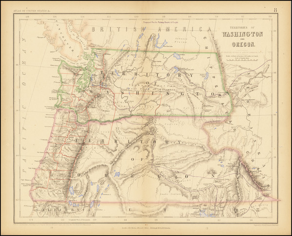 10-Rocky Mountains, Idaho, Montana, Wyoming, Pacific Northwest, Oregon and Washington Map By Henry
