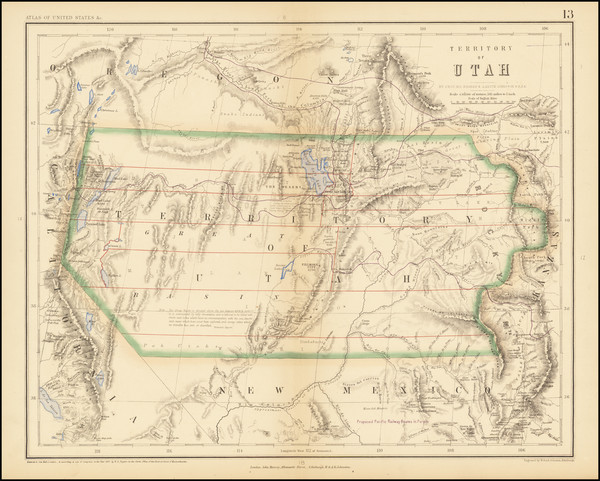 58-Southwest, Colorado, Utah, Rocky Mountains, Colorado, Utah and Wyoming Map By Henry Darwin Roge