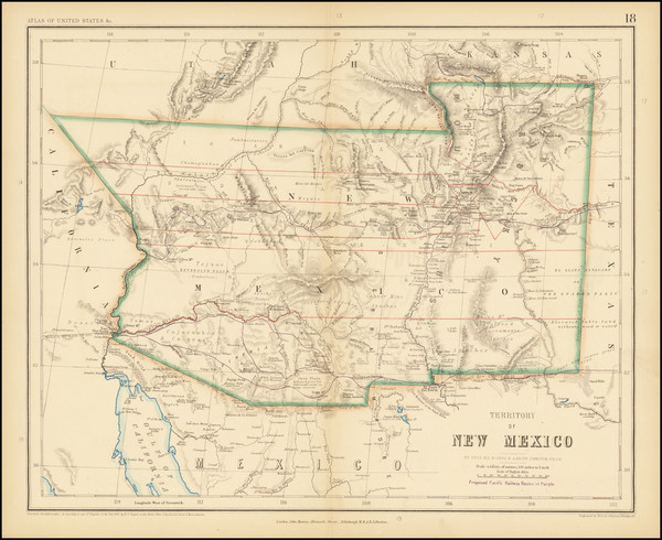 18-Southwest, Arizona, Colorado, New Mexico, Rocky Mountains and Colorado Map By Henry Darwin Roge