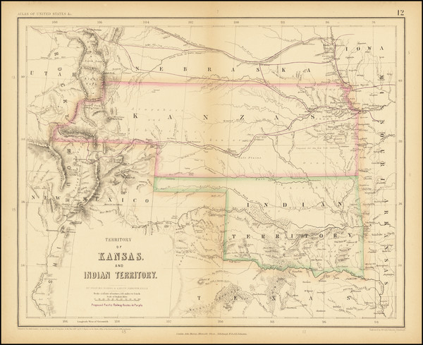 53-Kansas, Oklahoma & Indian Territory, Colorado and Colorado Map By Henry Darwin Rogers  &