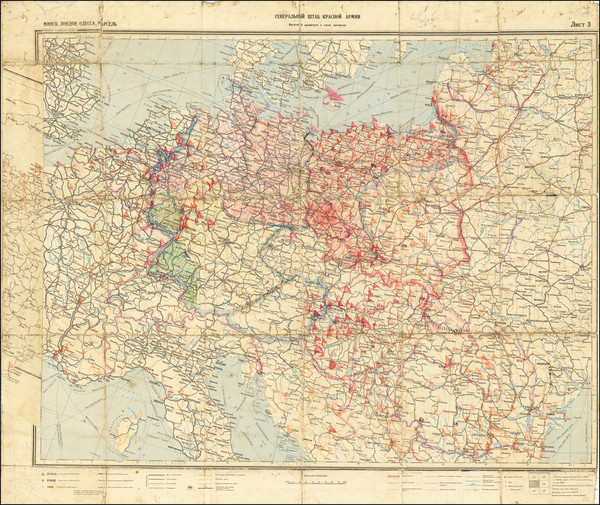 56-Europe, Western Europe, Central & Eastern Europe and World War II Map By General Staff of t