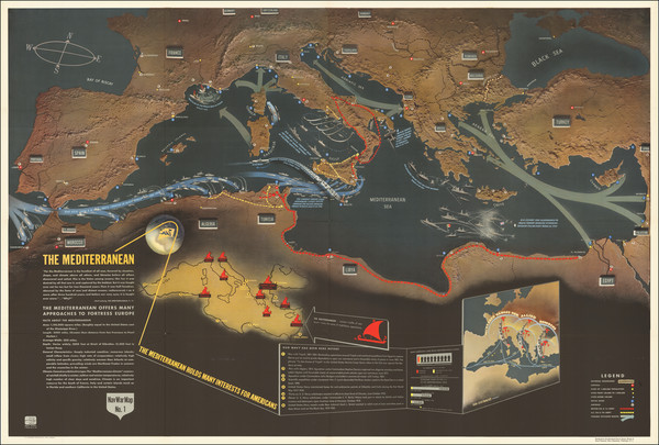 74-Europe, Mediterranean, Pictorial Maps and World War II Map By Educational Service Section / U.S