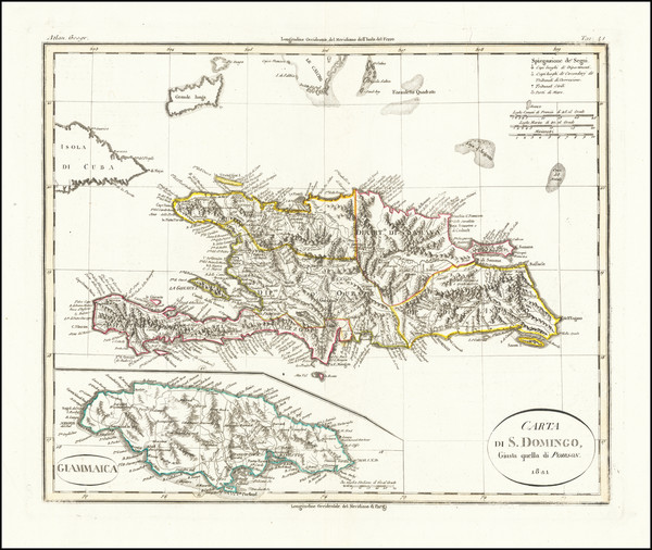 32-Jamaica and Hispaniola Map By Batelli & Fanfani