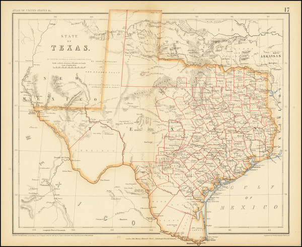91-Texas Map By Henry Darwin Rogers  &  Alexander Keith Johnston
