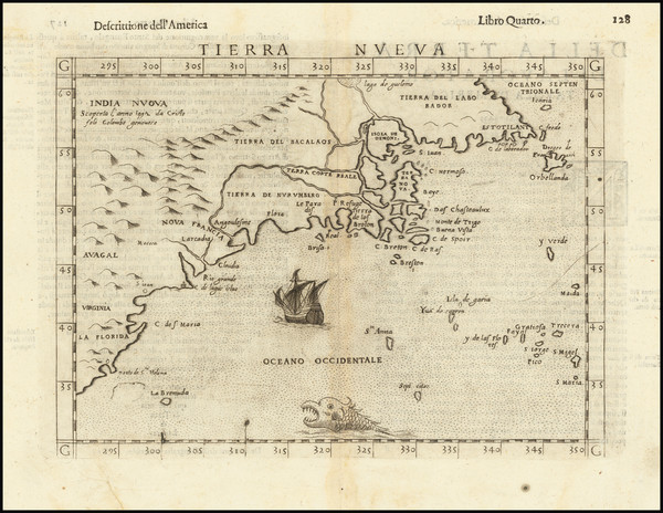8-New England, Mid-Atlantic, Southeast and Canada Map By Girolamo Ruscelli