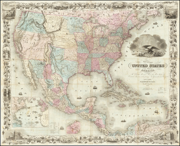 77-United States and Texas Map By Joseph Hutchins Colton