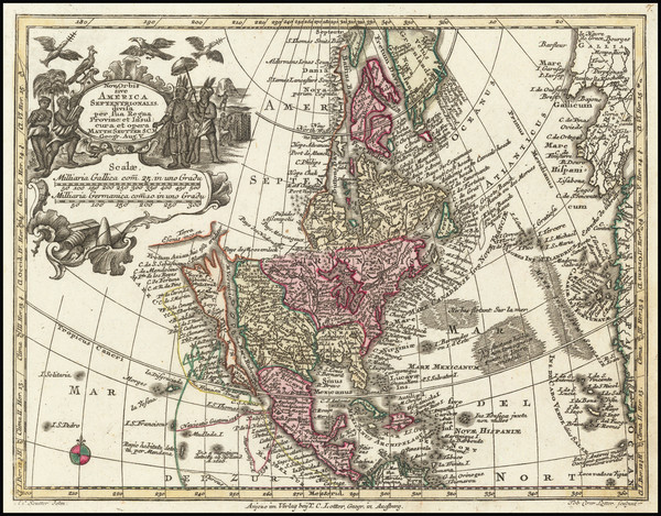 63-California as an Island and America Map By Matthaus Seutter