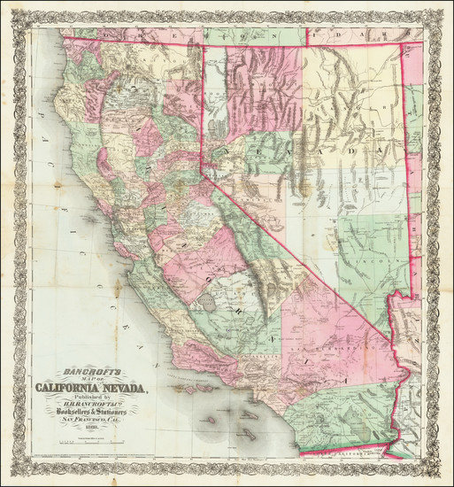 70-Nevada and California Map By H.H. Bancroft & Company