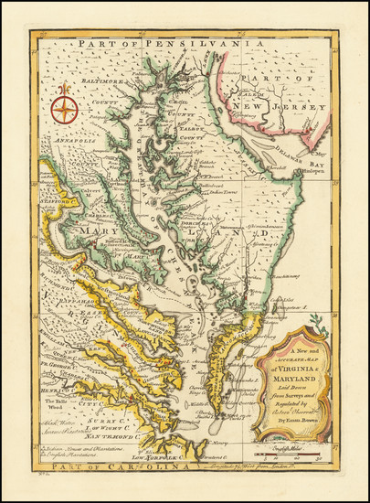 93-Maryland, Delaware, Southeast and Virginia Map By Emanuel Bowen