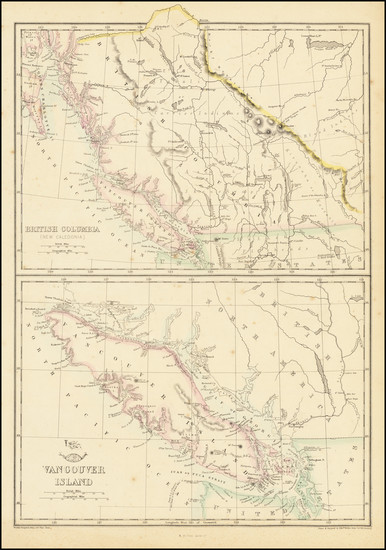 64-Pacific Northwest, Washington, Canada, Western Canada and British Columbia Map By Edward Weller