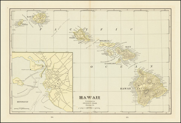 5-Hawaii and Hawaii Map By George F. Cram