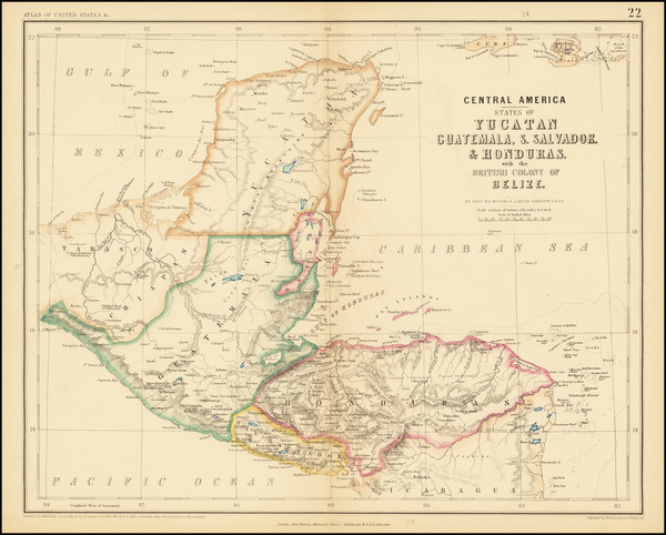 85-Central America Map By Henry Darwin Rogers  &  Alexander Keith Johnston